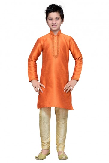 Beautiful Orange Embroidered Work Art Silk Designer Kurta