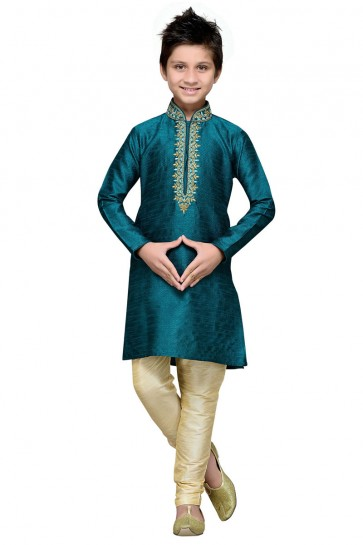 Excellent Turquoise Art Silk Embroidered Work Designer Kurta Pajama