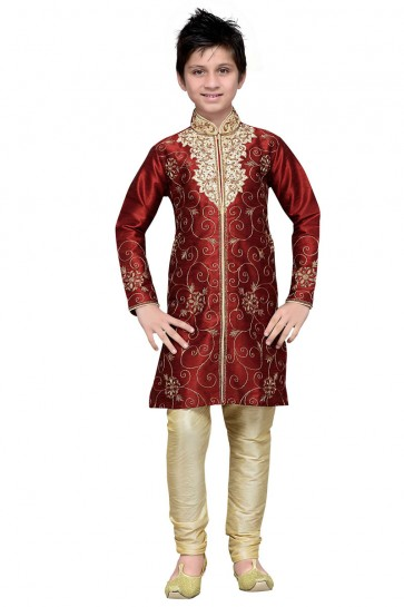 Ultimate Maroon Embroidered Work Designer Kurta