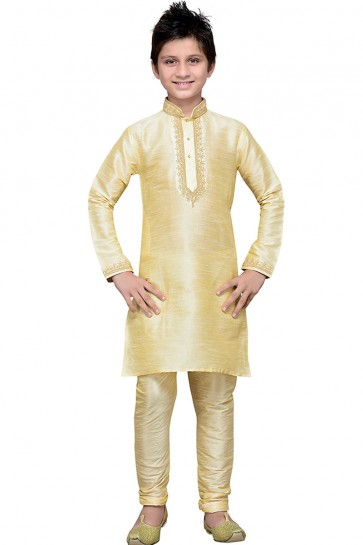 Charming Gold Art Silk Embroidered Work Kurta Pajama
