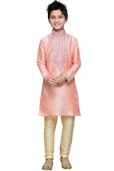 Beautiful Pink Art Silk Embroidered Work Designer Kurta