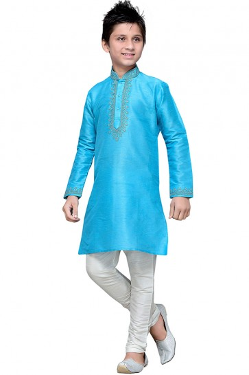 Lovely Sky Blue Embroidered Work Designer Kurta Pajama