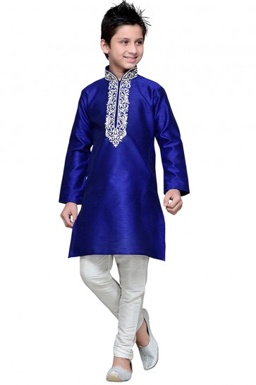 Stylish Blue Embroidered Work Art silk Kurta Pajama