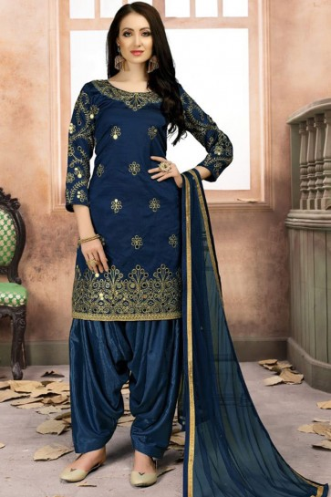 Lovely Blue Silk Embroidered Work Patiala Salwar Suit