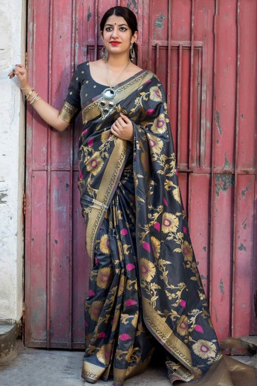 Gorgeous Grey  Embroidered Work Designer Silk Saree