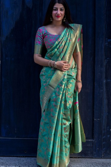 Pretty Green Silk Designer Embroidered Work Saree