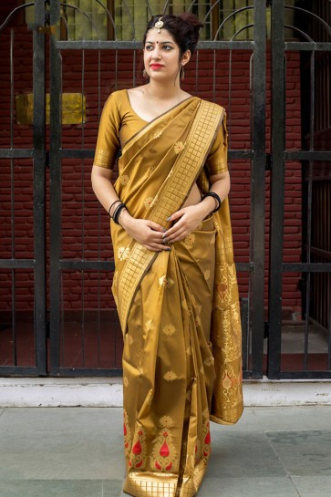 Stylish Mustard Silk Embroidered Work Designer Saree