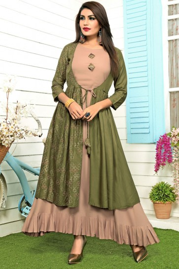 Beautiful Green Rayon Printed Salwar Kameez