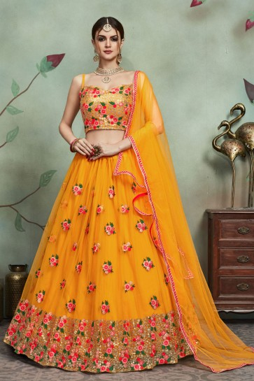 Yellow Net Fabric Sequins Work Lehenga Choli And Dupatta