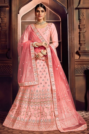 Graceful Baby Pink Mirror Work And Embroidered Silk Lehenga Choli With Mirror Work Blouse