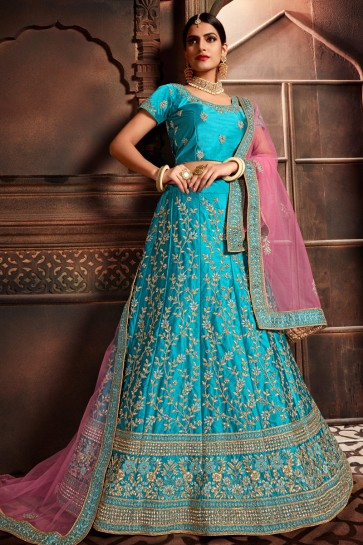Optimum Sky Blue Silk Stone Work And Embroidered Designer Lehenga Choli With Stone Work Blouse