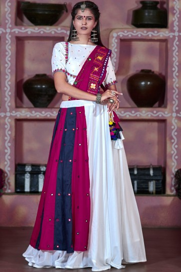 Lovely White And Magenta Mirror Work Navratri Special Cotton Lehenga Choli And Dupatta