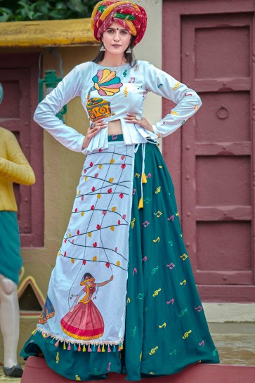 Beautiful Navratri Special Resham Embroidered Teal And White Cotton Lehenga Choli With Designer Dupatta