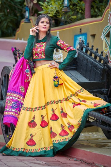 Green And Yellow Classic Digital Printed Navratri Special Cotton Lehenga Choli And Dupatta