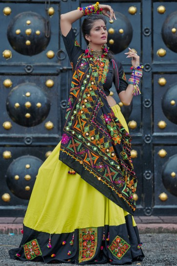 Navratri Special Stylish Black And Green Resham Embroidered Cotton Lehenga Choli With Designer Dupatta