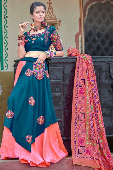 Gorgeous Teal And Pink Resham Embroidered And Mirror Work Navratri Special Cotton Lehenga Choli