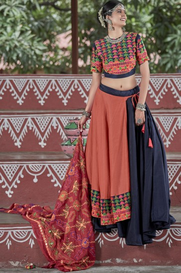 Beautiful Navratri Special Resham Embroidered Navy Blue And Orange Cotton Lehenga Choli