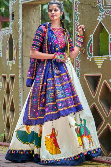 Navy Blue And Off White Classic Digital Printed And Lace Work Navratri Special Cotton Lehenga Choli