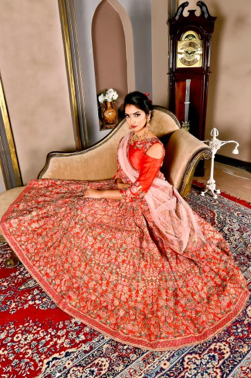 Excellent Embroidered Red Silk Lehenga And Choli With Net Dupatta