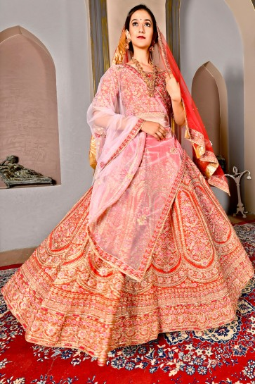 Marvelous Orange Silk Embroidered Lehenga And Blouse With Net Dupatta
