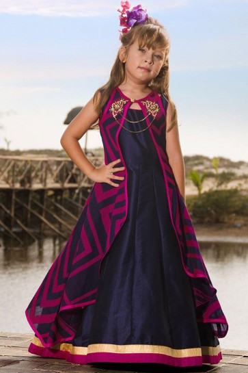 Gorgeous Navy Blue Jacquard Hand Work Party Wear Gown
