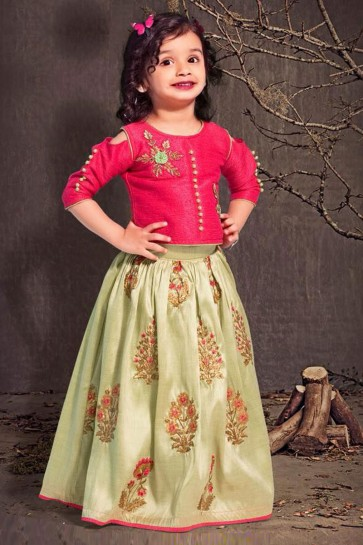 Graceful Magenta and Green Silk Embroiderd Work Lehenga Choli
