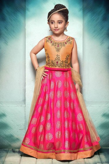 Excellent Pink and Orange Jacquard Embroiderd and Hand Work Lehenga Choli