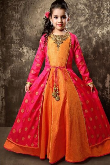 Admirable Orange Jacquard Hand Work Party Wear Gown