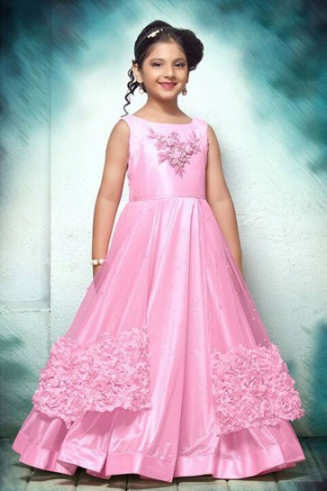 Lovely Pink Silk and Net Embroidered and Hand Work Party Wear Gown