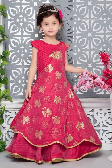 Classic Red Silk Hand Work Party Wear Gown