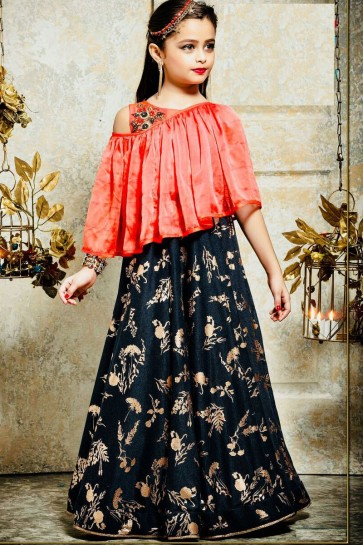 Ultimate Orange and Navy Blue Silk Hand Work Party Wear Gown