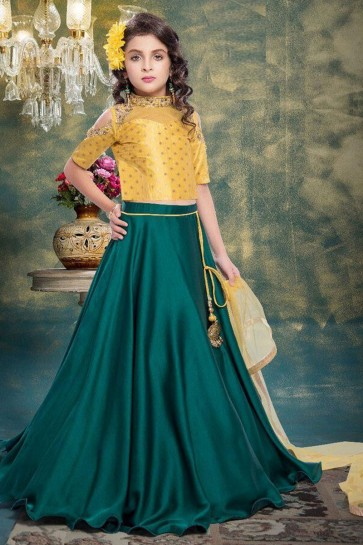 Pretty Mustard and Green Jacquard Hand Work Lehenga Choli