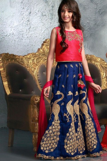 Beautiful Red and Navy Blue Silk Embroidered Work Lehenga Choli