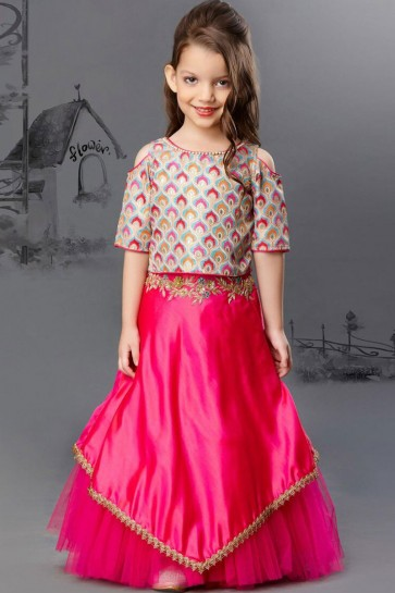 Stylish Pink and Multi Color Silk and Net Embroiderd Work Lehenga Choli