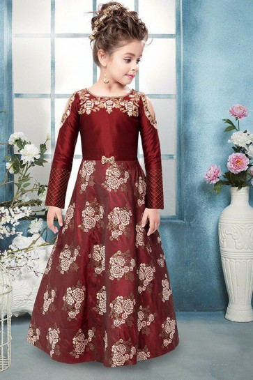 Excellent Maroon Jacquard Hand Work Party Wear Gown