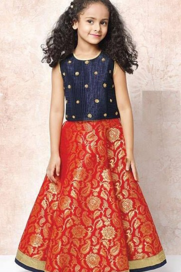 Beautiful Red and Navy Blue Silk Butta Work Lehenga Choli