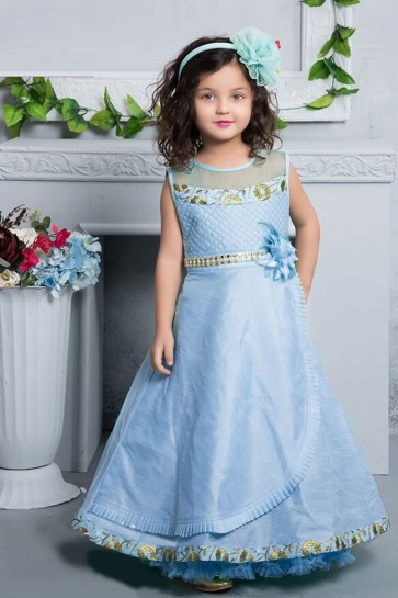 Excellent Sky Blue Silk Party Wear Gown