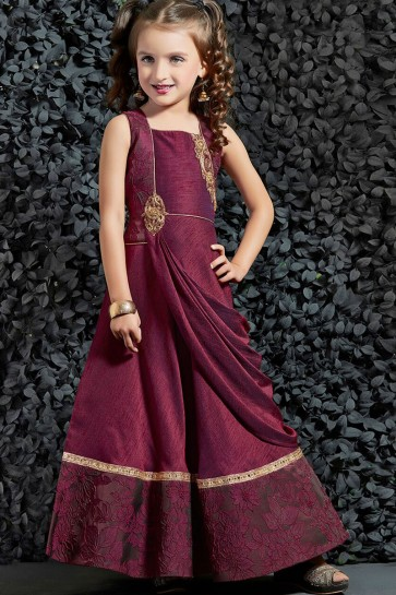Desirable Maroon Silk Embroidered Work Gown