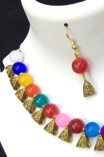 Classic Multi Color Long Beads Necklace