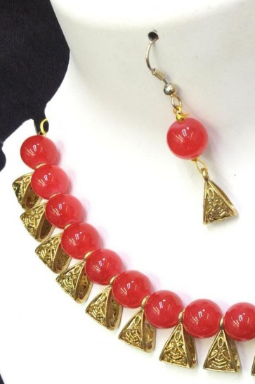Lovely Red and Golden Long Beads Necklace