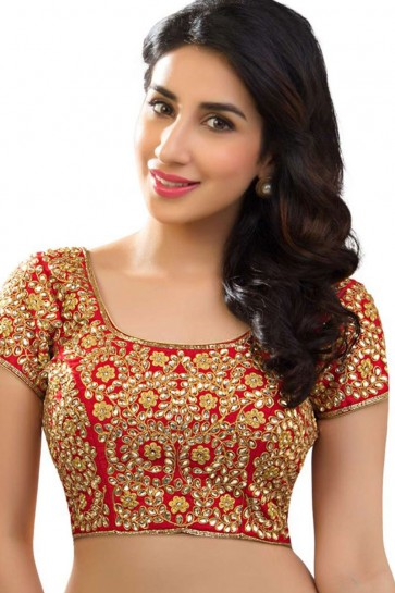 Charming Red Banglori Silk Embroidered Work Readymade Blouse
