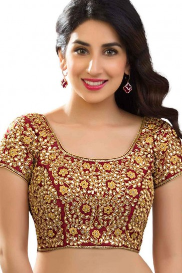 Classic Red Banglori Silk Embroidered Work Blouse