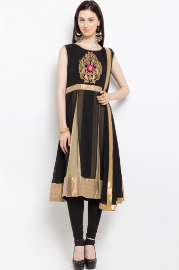 Beautiful Black Georgette Party Wear Plus Size Readymade Salwar Suit