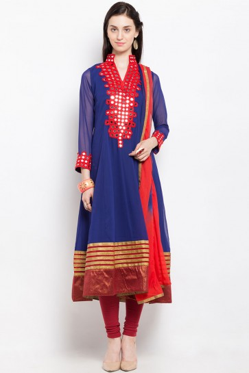 Charming Blue Georgette Embroidered Work Plus Size Readymade Salwar Suit
