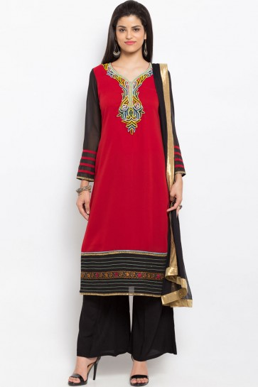 Classic Red Georgette Party Wear Plus Size Readymade Salwar Suit