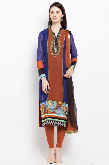 Excellent Blue Georgette Plus Size Embroidered Work Readymade Salwar Suit