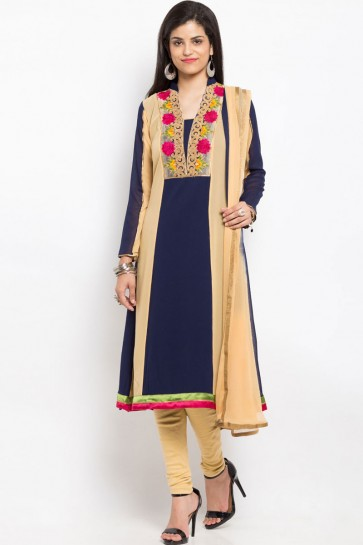 Admirable Blue Party Wear Embroidered Work Plus Size Readymade Salwar Suit