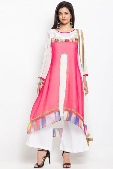 Classic Off White Party Wear Embroidered Work Plus Size Readymade Salwar Suit