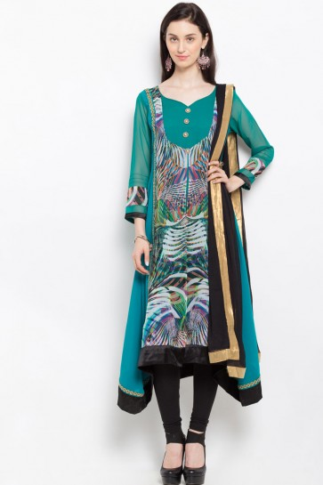 Gorgeous Green Casual Wear Plus Size Printed Readymade Salwar Suit