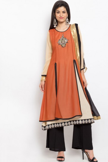 Beautiful Rust Georgette Party Wear Embroidered Work Readymade Salwar Suit